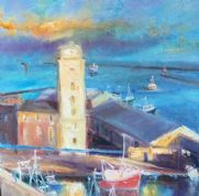 Kate Van Suddese Greeting Card - Low Light Blues - North Shields